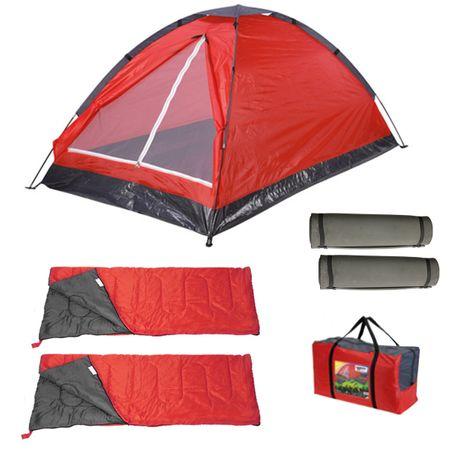 Camping-Set 4in1 für 2 Personen Camping Zelt Festival + Schlafsack + Isomatte blau rot Campingset  – Bild 2