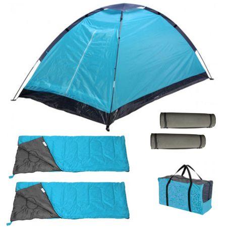 Camping-Set 4in1 für 2 Personen Camping Zelt Festival + Schlafsack + Isomatte blau rot Campingset  – Bild 3