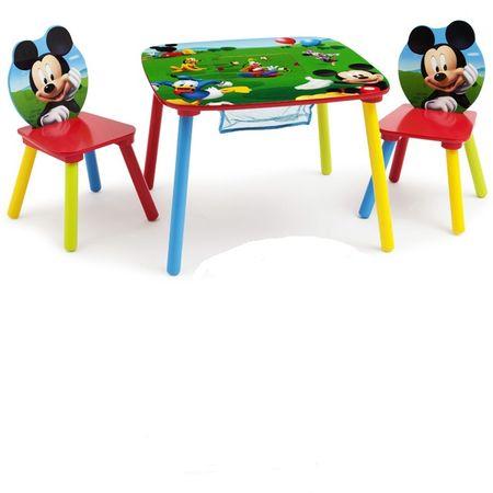 Disney Kindersitzgruppe Mickey Mouse Tisch + 2 Stühle Netz Sitzgruppe Aufbewahrung Maltisch Kindermöbel