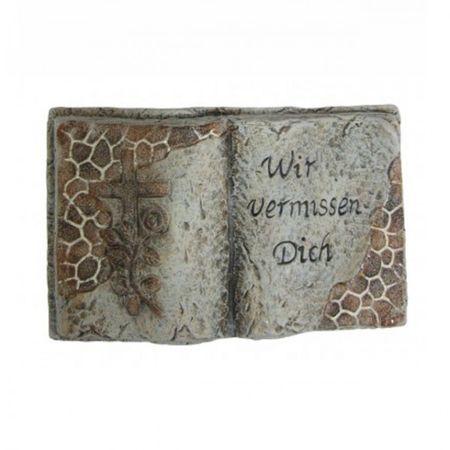 Deko Stein Keramik Dekoration Grabschmuck Grabstein in Buchform in aller Stille Gedenken Grab  – Bild 2