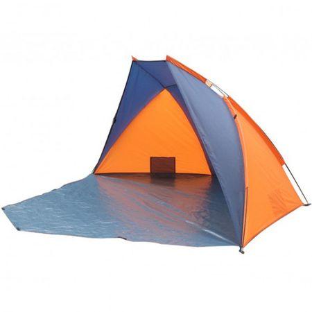 Strandmuschel KULM für 3 Personen Orange/blau Zelt Strandzelt Windschutz Sonnenschutz