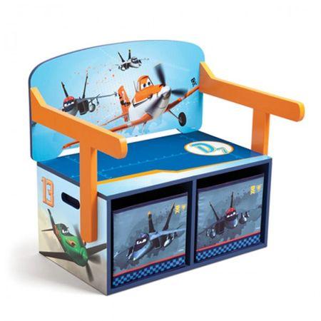 Planes 3 in 1 Bank aus Holz umklappbar zum Maltisch mit Aufbewahrungsboxen  – Bild 2