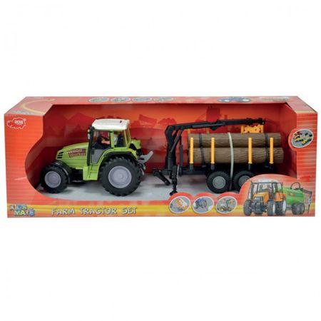 DICKIE Farm Tractor Set Trecker Landmaschine Spielzeugtrecker Pflug Kipper Holz Zange  – Bild 5