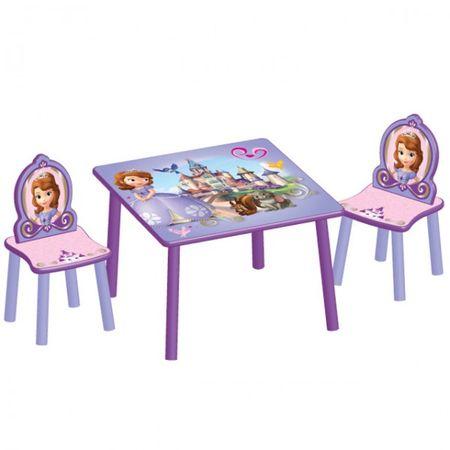 Disney Kindersitzgruppe SOFIA Tisch + 2 Stühle Holz Sitzgruppe Maltisch Spieltisch Kindermöbel Möbel