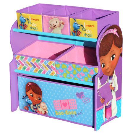 Disney Doc McStuffins Multi Toy Organizer für Spielzeug aus Holz mit Textilschubladen Aufbewahrungsbox mit Schubladen