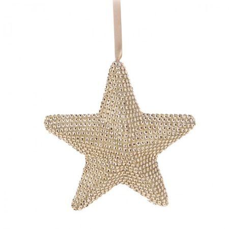 glänzende Hängedeko M 15 cm STERN silber oder gold Weihnachten Fensterdeko  – Bild 2