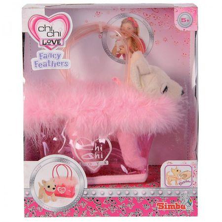 SIMBA Chi Chi Love Fancy Feathers Chihuahua in Tasche 14 cm rosa pink Hund Plüschhund Kuscheltier  – Bild 1