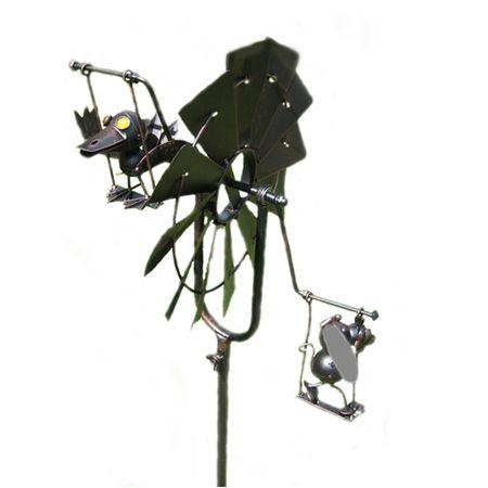 Windmühle Gartendeko Hund & Vogel Metall Gartendekoration Gartenstecker