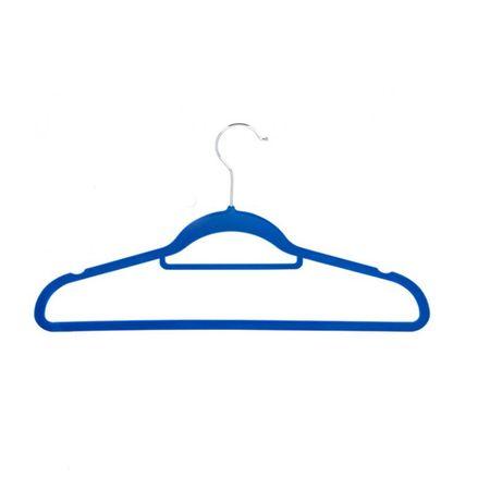 5er Pack Kleiderbügel rutschfest Stoff Bügel Kleiderhaken blau braun schwarz  – Bild 2