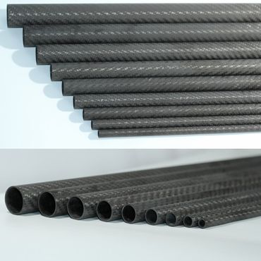 CFK Rohr - 12 x 10 x 500 mm - 3K Carbon Tube - Matt Karbon – Bild 2