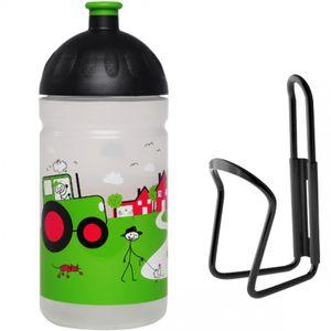 ISYbe Trinkflasche 0,5 L - Landleben mit Flaschenhalter, auslaufsicher