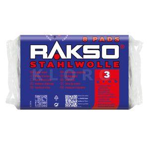 RAKSO® Stahlwolle Pads Sorte 3    8 Pads = 200 g   010380