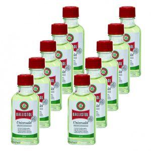 BALLISTOL 10 Glasflaschen a 50 ml, Waffenöl Pflegeöl Universalöl Kriechöl
