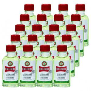BALLISTOL 20 Glasflaschen a 50 ml, Pflegeöl Universalöl Kriechöl Waffenöl