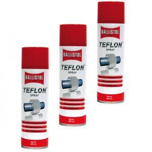 BALLISTOL Teflon® Spray, 3 Dosen a 400 ml Trockenschmierung  PTFE Teflonspray 25607