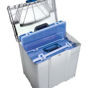 TANOS Sortimentbox-systainer® T-loc V   lichtgrau mit 4 Sortimentboxen  blau – Bild 1