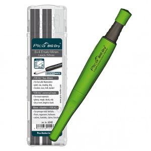 PICA-BIG Dry® 1 x Marker + 12 Ersatzminen Graphit + Weiß 6040 For All Bau-Minen