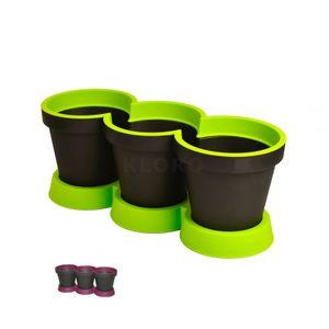 GELI Kräutertopf 3er Kräuter Pflanztopf zweifarbig Kunststoff Blumentopf – Bild 1
