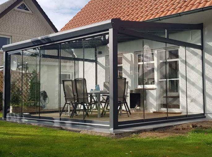 "500 x 350 cm Aluminium Terrassenüberdachung ""Topline"" mit Glasdach"