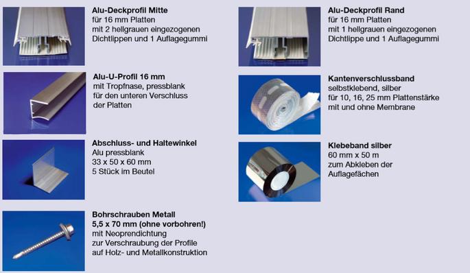 Alu-Deckprofil Verlegesystem Set für 16mm Hohlkammer- und Stegplatten