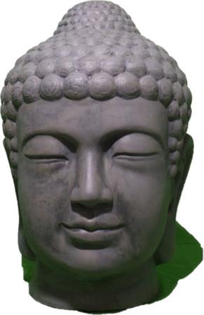 Buddha Kopf Figur Büste Skulptur  Farbe: Grau