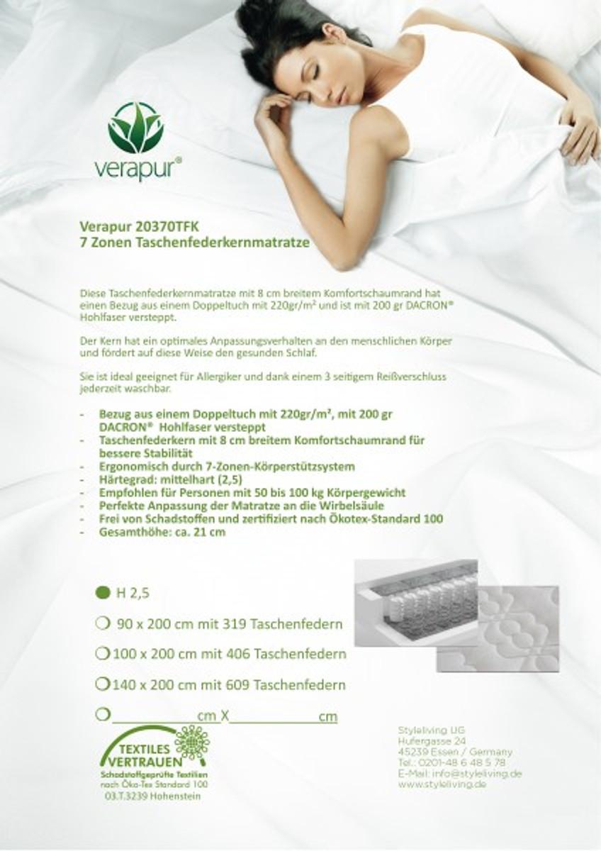 verapur 7 zonen taschenfederkernmatratze 20370 tfk matratzen gr e 140 x 200 cm h rtegrad h2. Black Bedroom Furniture Sets. Home Design Ideas