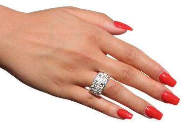 SILBERMOOS Ring Damen Bandring Struktur Ornamente Muster massiv matt glänzend Sterling Silber 925 – Bild 2