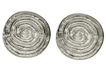 Gewölbte Ohrstecker mit Spiral-Muster – Bild 1