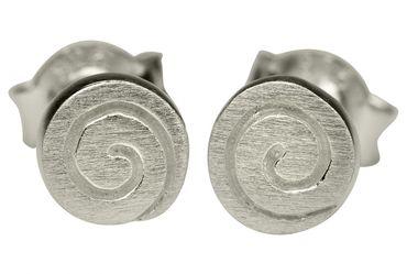 SILBERMOOS Ohrstecker Spirale matt glänzend Sterling Silber 925 Ohrringe