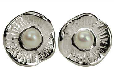 SILBERMOOS Damen Ohrstecker Blüte sandgestrahlt kleine Süßwasserperle Perle weiß Sterling Silber 925 – Bild 1