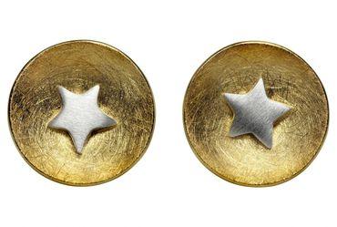 SILBERMOOS Damen Ohrstecker bicolor rund Scheibe mit Stern 2-in-1 vergoldet matt Sterling Silber 925 Ohrringe – Bild 1