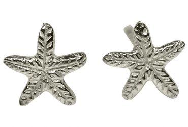 SILBERMOOS Damen Ohrstecker Seestern Muschel Meer strukturiert glänzend Sterling Silber 925 Ohrringe