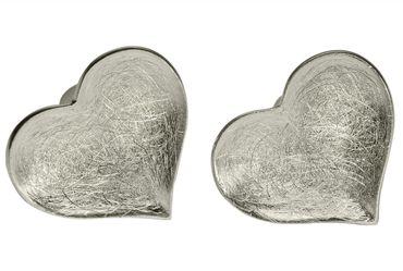 SILBERMOOS Damen Ohrstecker Herz Liebe gebürstet Sterling Silber 925 Ohrringe – Bild 3