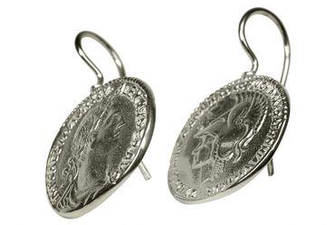 SILBERMOOS Damen Ohrhänger römische Münze Caesar antik rund glänzend 925 Sterling Silber Ohrringe Ohrschmuck – Bild 3