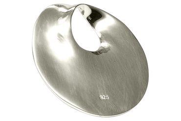 SILBERMOOS Anhänger runde Scheibe Kreis offen matt Sterling Silber 925 / Kette optional – Bild 4