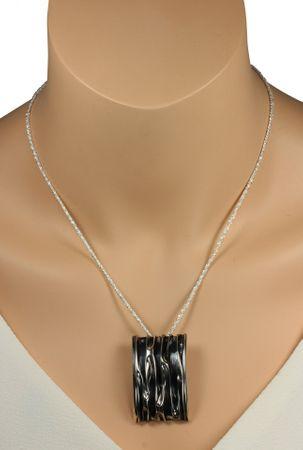 SILBERMOOS Anhänger rechteckig Wellen gestreift gewölbt geschwärzt Sterling Silber 925 / Kette optional – Bild 6