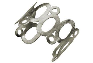 SILBERMOOS Damen Armreif Armspange offen gebürstet ovale Elemente Kreise Sterling Silber 925 – Bild 1