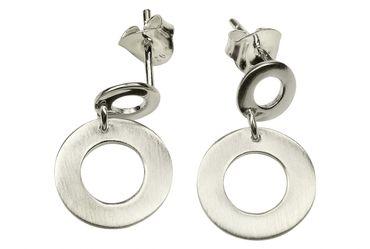 SILBERMOOS Damen Ohrstecker Kreise hängend offen rund glänzend matt 925 Sterling Silber – Bild 1