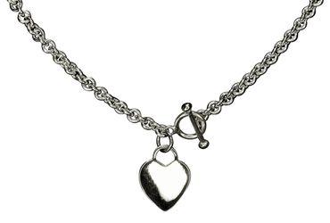 SILBERMOOS Kette mit Herz massiv italienisches Design glänzend mit Knebel-Verschluss 925 Sterling Silber – Bild 1