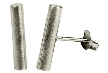 SILBERMOOS Damen Ohrstecker Stäbchen Stab Zylinder matt Sterling Silber 925 Ohrringe