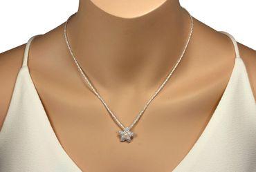 SILBERMOOS Anhänger Seestern mit Süßwasser-Perle gepunktet matt 925 Sterling Silber / Kette optional – Bild 5