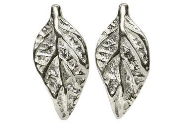 SILBERMOOS Damen Ohrstecker Blattmotiv Blatt matt Sterling Silber 925 Ohrringe