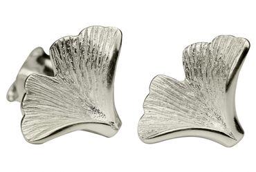 SILBERMOOS Damen Ohrstecker Blatt Ginkgo matt Sterling Silber 925 Ohrringe – Bild 1