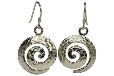 SILBERMOOS Damen Ohrhänger Rund Kreis Spirale Scheibe gehämmert Sterling Silber 925 Ohrringe Ohrschmuck – Bild 1