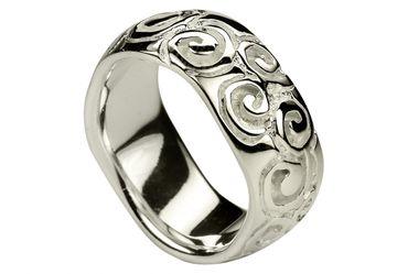 SILBERMOOS Damenring Spiralmuster Bandring Ornament matt und glänzend Sterling Silber 925