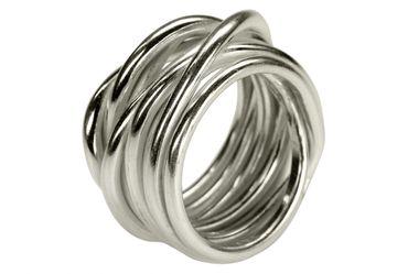 SILBERMOOS Damenring Herrenring Partnerring Ehering gewickelt handgeschmiedet Sterling Silber 925