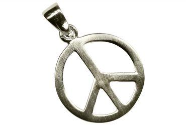 SILBERMOOS Anhänger mit Kette Peace Zeichen matt glänzend mit Schlangenkette 45 cm 925 Sterling Silber – Bild 3