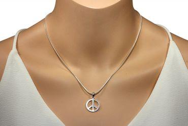 SILBERMOOS Anhänger mit Kette Peace Zeichen matt glänzend mit Schlangenkette 45 cm 925 Sterling Silber – Bild 2