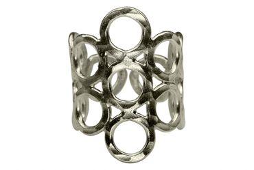 SILBERMOOS Damen Ring Kreise strukturiert verspielt gehämmert glänzend 925 Sterling Silber