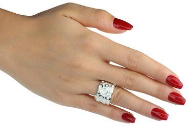 SILBERMOOS Damen Ring Bandring Kreis-Struktur breit matt glänzend massiv 925 Sterling Silber  – Bild 2